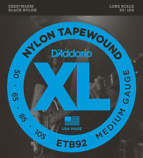 D'Addario ETB92 NYLON TAPEWOUND BASS STRINGS, MEDIUM GAUGE 4's - 50-105