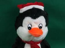 CHRISTMAS BLACK WHITE PENGUIN ARCTIC BIRD SANTA HAT RED SCARF PLUSH STUFFED