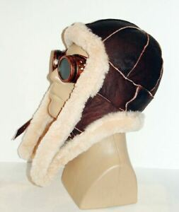 Warm Handmade Sheepskin Bomber Hat Aviator Pilot Fur Hat Real Shearling Hat L-XL