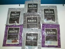 Krave Beef Jerky Pork Peppercorn Sea Salt BBQ LOT 7X2.7=17.5 oz Bags Meat 3/20
