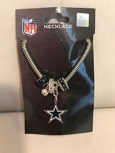 NFL Dallas Cowboys Euro Bead Necklace Football Licensed Rhinestones Charm. New
