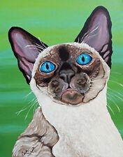 Siamese Pet Cat Art Original 16 x 20  Canvas Painting-Carla Smale