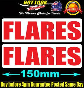 FLARES Stickers x 2 boat safety Marine Decals premium quality UVstabilised vinyl