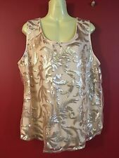 ONYX Women's Peach Sequin Netted Double Layer Tank Top - Size XL - NWT