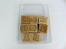 Stampin Up Set of 8 Rubber Stamps Mounted Birthday Heart Quotes Sayings Cake