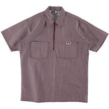 Ben Davis Short Sleeve Half Zip Work Shirt Stripe Burgundy