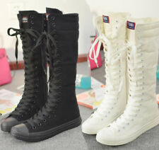 Women Girl Lace Up Zip Canvas Knee High Trainers Boots Dance Shoes