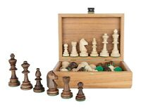"Tournament Staunton Chess Pieces in Wooden OLIVE Box - 3.9"" King"