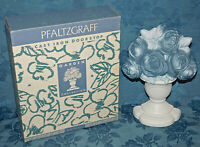 Cast Iron Metal Door Stop Single Bookend Urn of Blue & White Roses New in Box