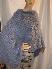 pre-loved authentic SOPHIA SWIRE of LONDON hand knit BLUE rabbit fur PONCHO $699