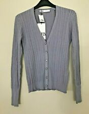 BNWT ZARA GREY BLUE CABLE KNIT CARDIGAN WITH RHINESTONE BUTTONS SIZE M