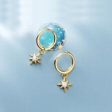 Creolen mit Anhänger Stern echt Silber 925 Damen Ohrringe Zirkonia Ohrhänger