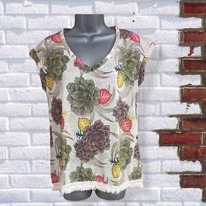 NEXT - Womrns UK 10 Beige Green & Red Floral Short Sleeve Tassel T-Shirt Top