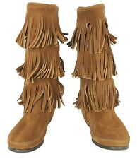 Minnetonka 7 Brown Fringe Suede Leather Boho Festival Moccasin 3-Layer Boots