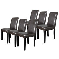 Set of 6 Dining Room Brown Parson Chairs Kitchen Formal Elegant Leather Design