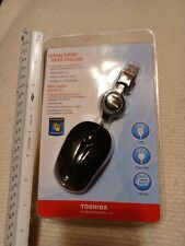 Toshiba Mini USB Optical Mouse for Mini Laptop w/ Retractable Cord- Black- New