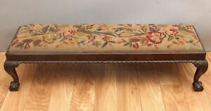 Antique hand Carved Mahogany Chippendale Ball & Clawl Bench, Needlepoint Seat