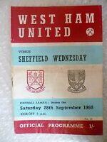 1968 WEST HAM UNITED v SHEFFIELD WEDNESDAY, 28th Sept (League Division One)