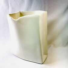 New ListingCeramic Glazed White Paper Bag Vase with Saw Tooth Edge Art Pottery 7.25 in