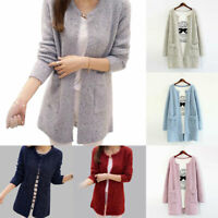 Womens Long Sleeve Knitted Cardigan Sweater Coat Jacket Winter Soft Loose Casual