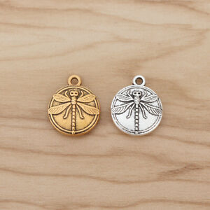 10 x Silver/Gold Tone Dragonfly Round Charms Pendants Beads for Jewellery Making