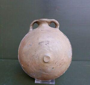 Nice Antique Siegburg German stoneware Pilgrim bottle, 15th. century. Utrecht