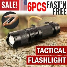 6x Tactical Police Flashlight LED Torch Light Military Outdoor Hiking Camping