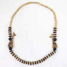 "Vintage Wood Bead Giraffe Accent Safari Africa Art Necklace, Barrel Clasp, 22"""