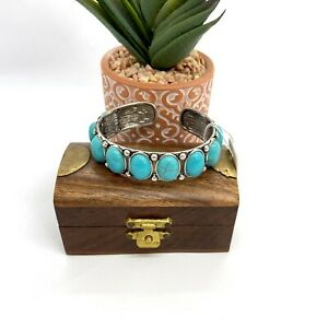 Turquoise Cuff Bracelet Cabochon Stones Silver Tone Western Squeeze Adjustable