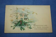 Vintage Postcard Greetings And All Good Wishes For Christmas, House Scene