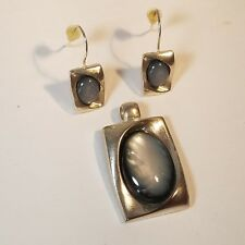 KC Kenneth Cole Silver Pendant And Earrings Gray Stone No Chain