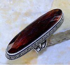 ORANGE QUARTZ ANTIQUE DESIGN 925 STERLING SILVER PLATED STATEMENT RING SIZE 8.5