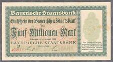 München -Bayerische Staatsbank- 5 Millionen Mark vom 1.08.1923