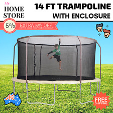 Trampoline 14ft with Enclosure Set Padded Steel Heavy Duty Outdoor Safety Net