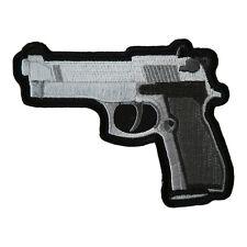 Handgun Dark Grey Grips Left Facing Patch, Embroidered Gun Patches