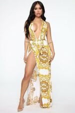 Fashion Nova Maxi Dress Ivory  Deep V-Neck Side Slit Tie Waist Stretch Halter XL
