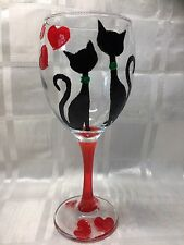 Hand Painted Black Cats Red Hearts Large Washable Wine Glass Gift