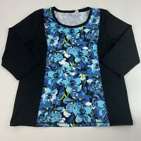 Chico's Weekends Women's Size 2 (Large) Top Blue Floral Print Black Sleeves