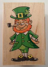 "Inkadinkado Lucky Leprechaun Wooden Rubber Stamp 2"" X 2.5"" #94958"