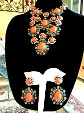 KENNETH LANE CORAL CABOCHON RHINESTONE EMPRESS BIB NECKLACE DROP EARRINGS SET