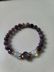 Purple Clover Cross Amethyst Faceted Bracelet Handmade
