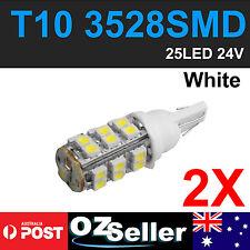 2 X T10 LED 25 SMD 3528 White 194 168 Car Light Bulb Lamp 24V Wedge Tail Side Au