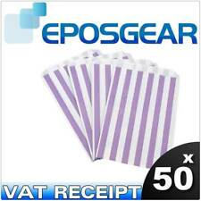 """50 5"""" x 7"""" Purple Candy Stripe Paper Sweet Buffet Gift Shop Party Food Bags"""