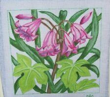 "hand painted needlepoint canvas 13ct  fuchsia lillies 10x10"""