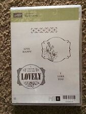 Stampin Up! -YOUR LOVELY-Set of 5 cling stamps-words,FLOWERS, WORDS FRAMES