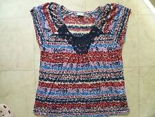 Ladies Blue Pink Print V Neck Top Crochet panel insert S 14 Marks & Spencer VGC