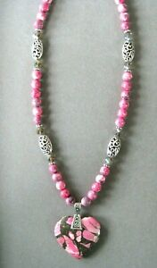 Stunning Pink and Grey Sea Sediment Jasper Pendant Necklace with Matching Beads