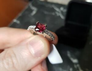 Womans Size R 1/2. Ruby & White Topaz 925 Silver Plated Ring