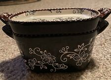 Temptations By Tara Black Floral Lace Qvc Bakeware 10 Oz With Lid It