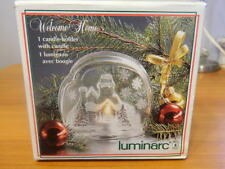 Luminarc Glass Candle Holder Welcome Home House Christmas Winter Snow Scene